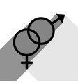 sex symbol sign black icon with two flat vector image vector image