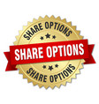 share options round isolated gold badge vector image vector image