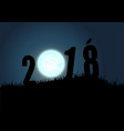 silhouette of numbers 2018 with moon vector image vector image