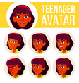 teen girl avatar set indian hindu asian vector image vector image