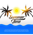 tropical summer background with tree and sun vector image vector image