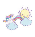 unicorn on clouds cute cartoons vector image vector image