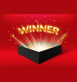 winner glowing box with golden ribbons and vector image vector image