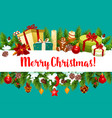 merry christmas holiday gifts greeting card vector image