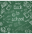 Education icons back to school green chalkboard vector image