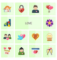 14 love flat icons set isolated on white vector image vector image