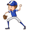 A simple drawing of a baseball player in blue vector image vector image
