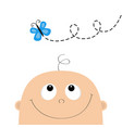 baby shower greeting card template kid face vector image