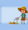 background template design with boy watering plant