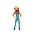 bearded farmer character in overalls cheerful vector image vector image