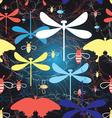 Beautiful graphic pattern different insects vector image
