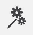 black icon on white background two gears vector image vector image