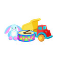 bunny drums christmas toys set vector image