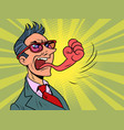 businessman tongue mouth gesture fist anger