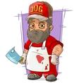 Cartoon big butcher in apron with backsword vector image vector image