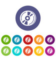 cd icons set color vector image