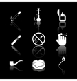 cigarette hookah and cigar icons vector image vector image