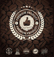 coffee labels and coffee beans background vector image vector image