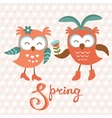 Cute owls couple vector image vector image