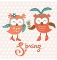 Cute owls couple vector image