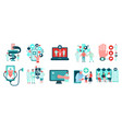 digital medicine icons set vector image vector image