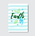 earth day cute greeting card or postcard eco vector image