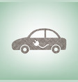 electric car sign brown flax icon on vector image vector image