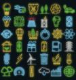 energy saving icon set neon vector image vector image