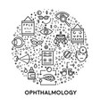 eyes treatment ophthalmology line icons medicine vector image