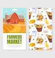 farmers market card template front and back side vector image
