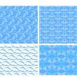 four seamless textures of abstract water vector image vector image