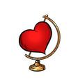 globe international red heart valentine day vector image