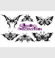 gloomy butterflies - set - moth dead head vector image vector image