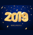 golden 2019 happy new year and merry christmas vector image vector image