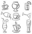 hand draw drink set doodles vector image vector image