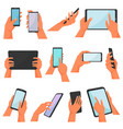 hands with gadgets hand holding mobile vector image vector image