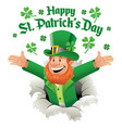 happy leprechaun ripping out the paper greeting vector image vector image