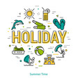 holiday - round linear concept vector image