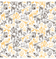 honey bee seamless pattern sketch hand drawn vector image vector image