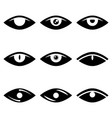 image of abstract eye icons in black and white vector image vector image