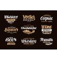 menu bar icons set labels alcoholic drinks vector image vector image
