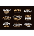 Menu bar icons set Labels of alcoholic drinks vector image vector image