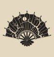 monochrome a fan with a pattern vector image vector image
