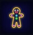 neon gingerbread man vector image vector image