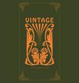ornament carving art nouveau style vintage vector image