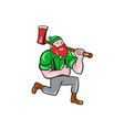 Paul Bunyan LumberJack Axe Kneeling Cartoon vector image vector image