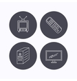 Retro TV monitor and pc case icons vector image vector image