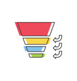 sales funnel with stages of the sales process vector image vector image