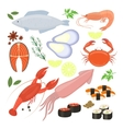Selection of seafood shrimp and sushi icons vector image vector image