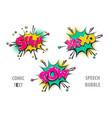 set comic text speech bubble shh xoxo pow vector image vector image